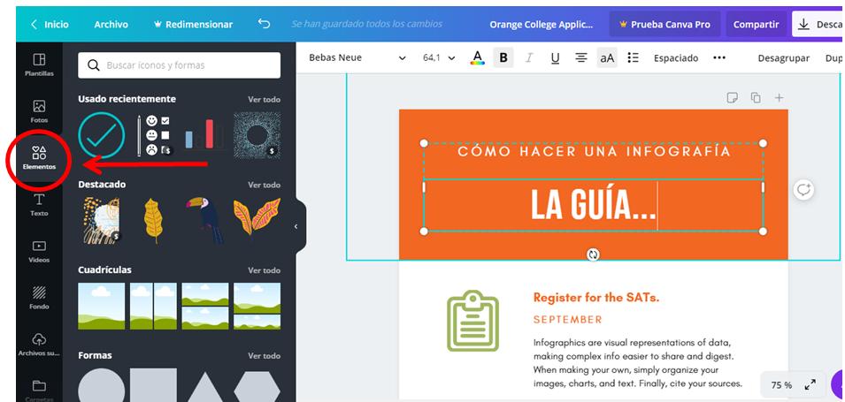 Infografía con Canva.  Insertar íconos e imágenes