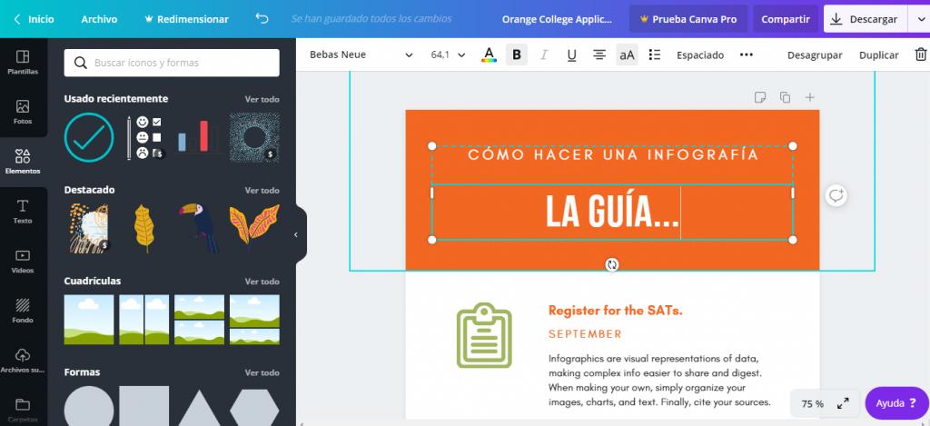 Infografía con Canva.com Elementos de edición.