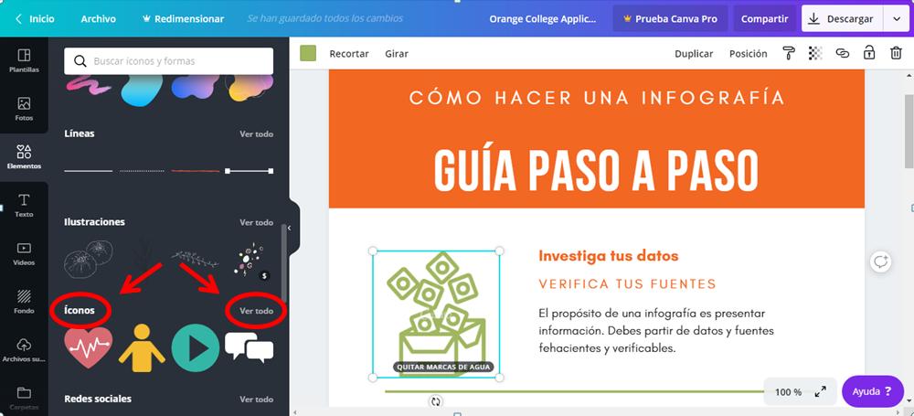 Hacer una infografía con Canva.com elementos, detalles.