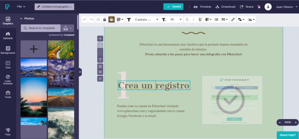 Como hacer una infografía con Piktochart. Edición de elementos